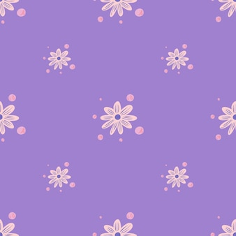 Minimalistic floral seamless pattern with pink chamomile small flowers ornament. light purple background. graphic design for wrapping paper and fabric textures. vector illustration.