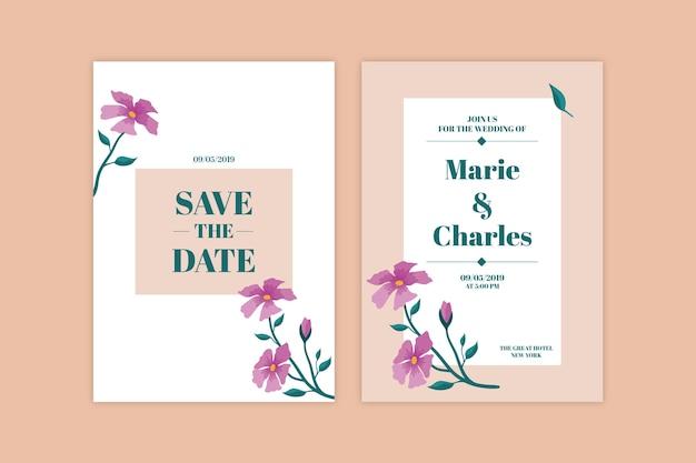 結婚式招待状のミニマルな花のテーマ