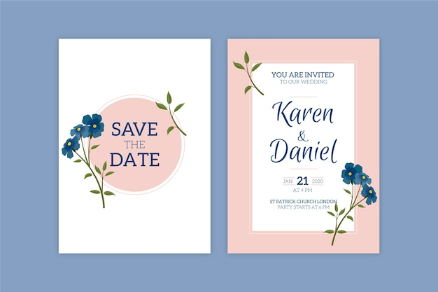 Minimalistic floral theme for wedding invitation template