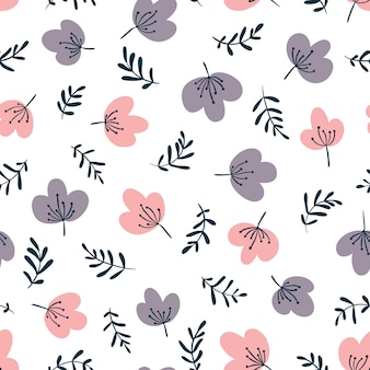 Minimalistic floral vector seamless pattern in simple cartoon hand-drawn style.