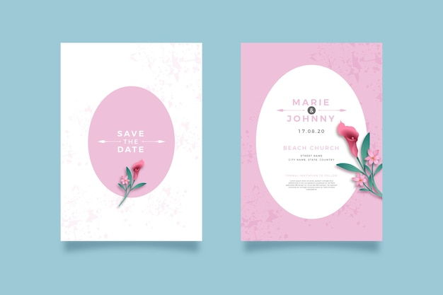 Minimalistic floral wedding invitation template