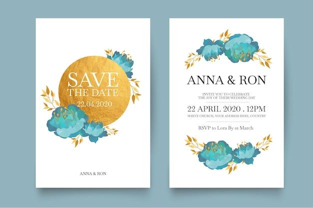 Minimalistic floral wedding invitation
