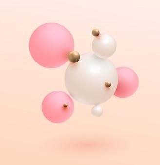 Minimalistic gold, pink , white balls   . modern . trend