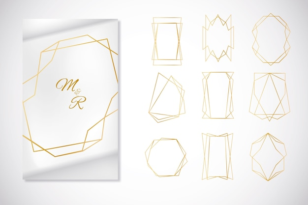 Minimalistic golden polygonal frame collection