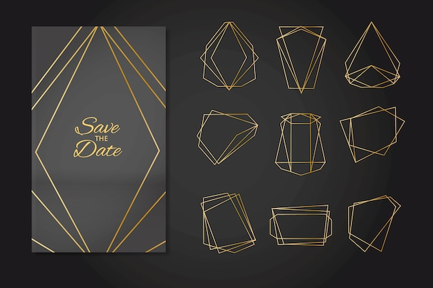 Minimalistic golden polygonal wedding ornaments
