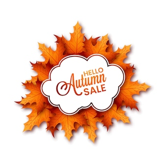 Minimalistic illustration of autumn sale with special offer and big discount