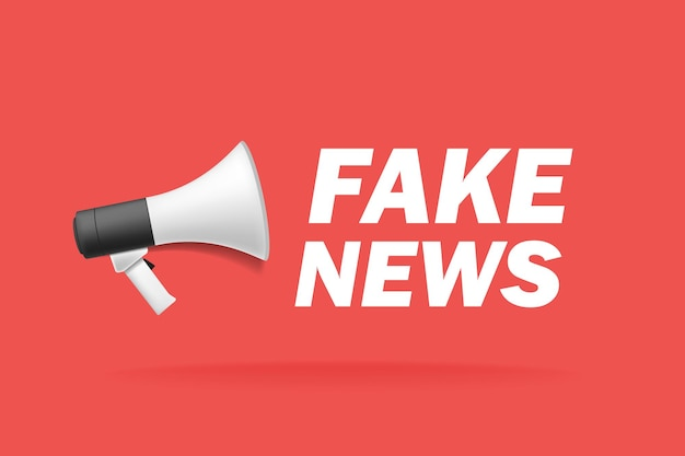 Minimalistic illustration of a megaphone with fake news text in red background. vector illustration.