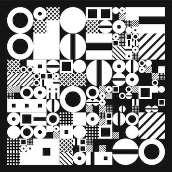 シンプルな形のミニマルなイラスト。手続き型幾何学。スイススタイルの抽象的なレイアウト。