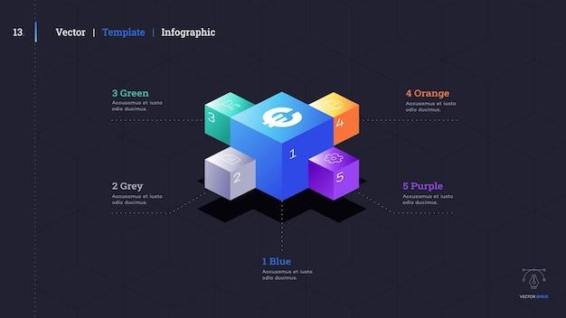 ミニマルなインフォグラフィックプレゼンテーションスライド。モダンなパンフレットカバーデザイン。