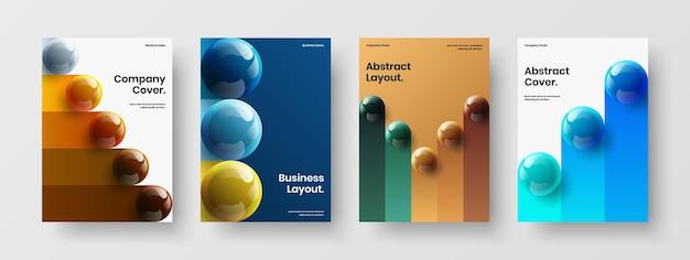 최소한의 저널 표지 디자인 벡터 개념 컬렉션