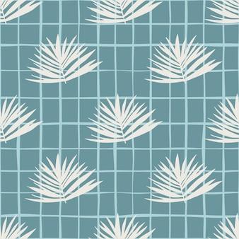ミニマルな葉クラスターのシームレスパターン。チェックと柔らかい青色の背景に白い葉。