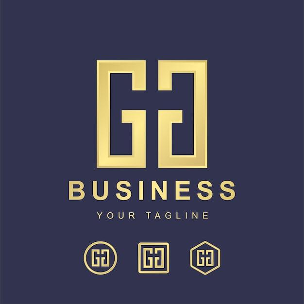 ミニマルな文字gggロゴテンプレートデザイン。金色のグラデーション効果を持つモダンなロゴのコンセプト