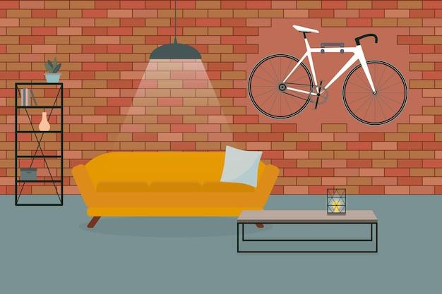 벽에 벽돌 벽 소파 자전거가 있는 미니멀한 로프트 스타일의 거실 인테리어 프리미엄 벡터