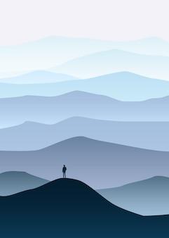 Minimalistic mountain landscape, silhouettes, open your world, lonely explorer, horizon, perspective