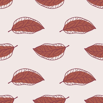 Minimalistic outline leaves seamless pattern. maroon pale colored ornament on light background.