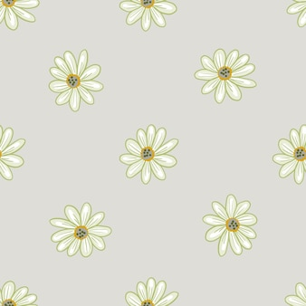 Минималистичные пастельные тона бесшовные модели с ботаническими формами цветов ромашки. серый фон. печать каракули. фондовый рисунок. векторный дизайн для текстиля, ткани, подарочной упаковки, обоев.