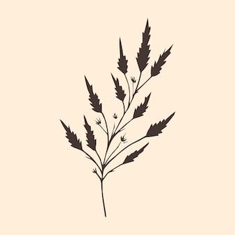 ベージュの背景にミニマルな植物ベクトルイラスト