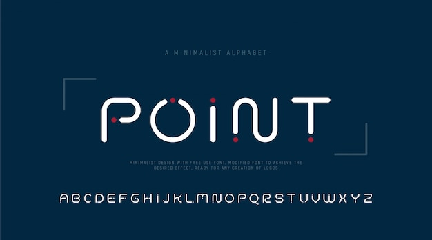 Минималистичный точечный алфавит из букв и точек.