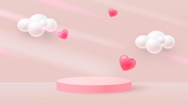 Minimalistic scene with pink cylindrical podium and flying hearts. falling shadows. scene for the demonstration of a cosmetic product, showcase. vector