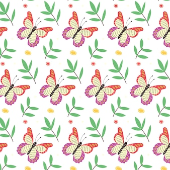 Minimalistic seamless pattern of butterflies and leaves