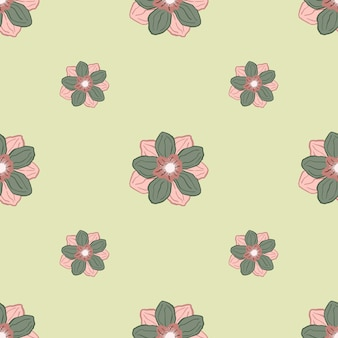 Minimalistic seamless pattern in pale tones with doodle pink and green colored anemone bud flower ornament.