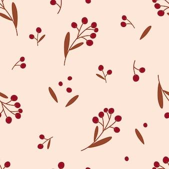 딸기와 최소한의 완벽 한 패턴입니다. 꽃 섬유, 포장지, 벽 예술 디자인. 벡터