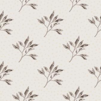 枝飾りとミニマルなシームレスパターン。明るい灰色の点線の背景に茶色の色で葉を概説します。
