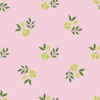 낙서 녹색 라임 조각과 잎 요소가 있는 최소한의 매끄러운 패턴입니다. 파스텔 라이트 핑크 배경입니다. 포장지 및 패브릭 질감을 위한 그래픽 디자인. 벡터 일러스트 레이 션.
