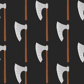 Минималистичный бесшовный паттерн с каракули орнамент топор викингов