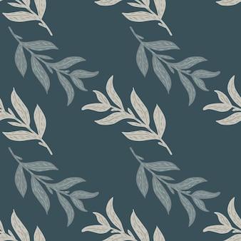 Минималистичный бесшовный паттерн с характером каракули серые листья