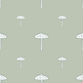Minimalistic seamless pattern with simple mushroom outline shapes.