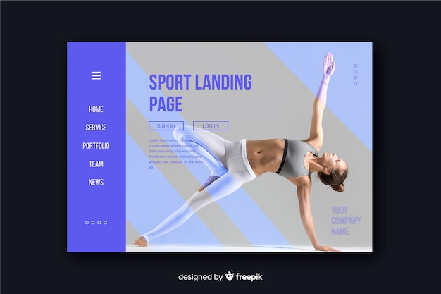Minimalistic sport landing page with bright photo