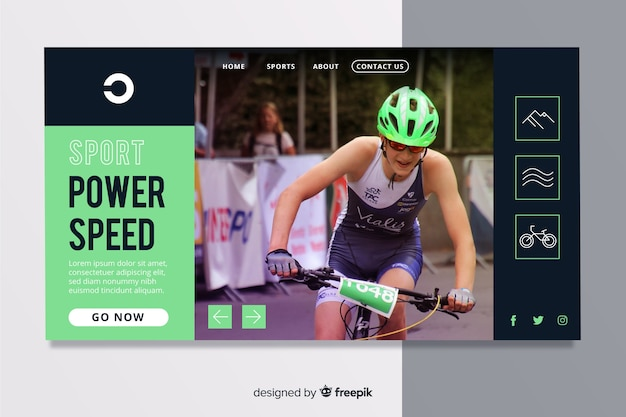 Minimalistic sport landing page with cycling photo