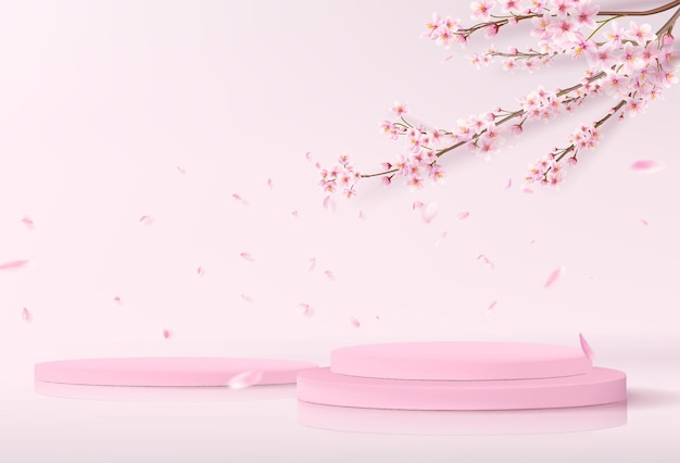 A minimalistic stage with empty cylindrical podiums. showcase mockup for product showcase in pink with sakura branches on the background.