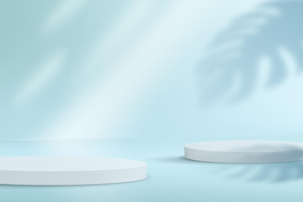 A minimalistic stage with a set of catwalks in pastel blue colors. product demonstration platform with monstera leaf shadow.