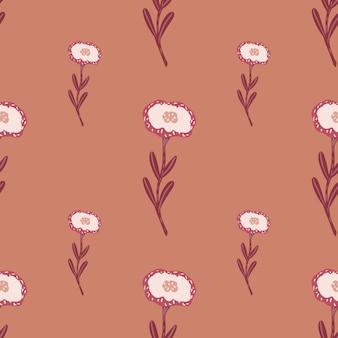 白い花とミニマルなスタイルのシームレスな植物のパターン