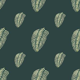Минималистичный стиль бесшовные каракули шаблон с простым орнаментом из листьев папоротника. темно-серый фон. графический дизайн оберточной бумаги и текстуры ткани. векторные иллюстрации.