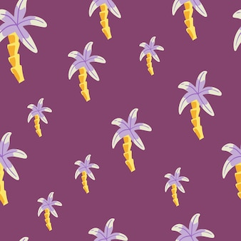 Minimalistic style seamless pattern with doodle palm tree ornament. bright purple background. nature print.