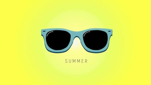 Minimalistic summer background with sunglass.
