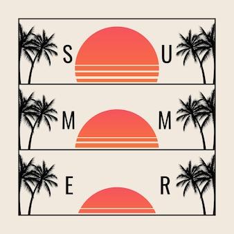 Минималистичный летний закат с набором силуэтов солнца и пальм Premium векторы