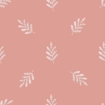 Минималистичный нежный бесшовный образец с орнаментом ветвей. розовый фон тонов. плоская векторная печать для текстиля, ткани, подарочной упаковки, обоев. бесконечная иллюстрация.