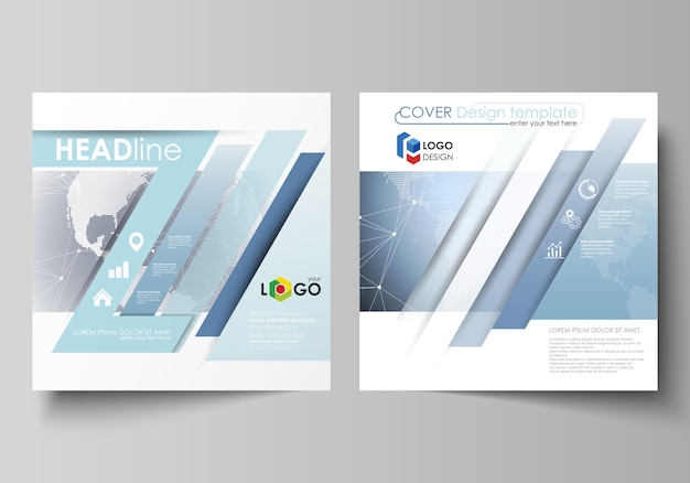 The minimalistic vector illustration of the editable layout of two square format covers design templates
