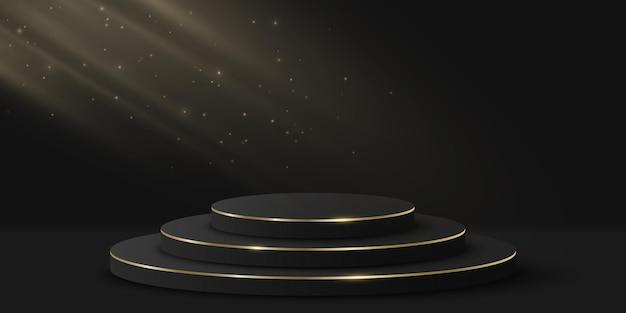 あなたの製品を見せるための光の効果を持つミニマルなvip表彰台。黒の背景に3dシリンダー。豪華なプラットフォームまたはシーン。ファッションプレゼンテーションのモックアップ。ベクトルイラスト