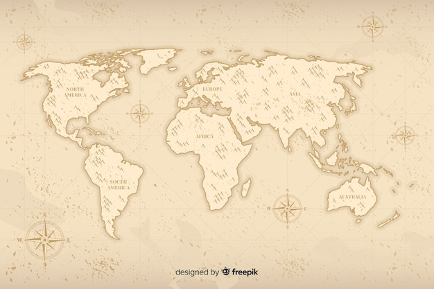 Minimalistic world map with vintage design