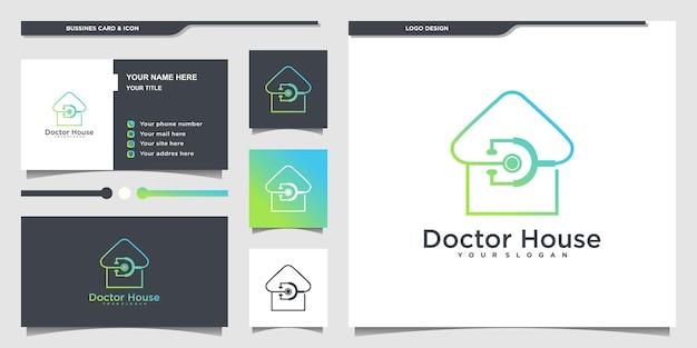 현대적인 라인 아트 스타일과 명함 디자인이 있는 minimallist 의사 하우스 로고 프리미엄 벡터