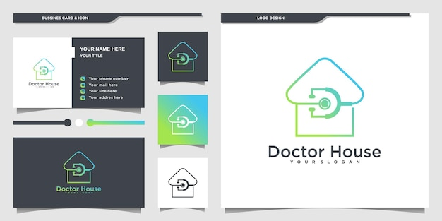 Minimallist doctor house logo with modern line art style and business card design premium vector