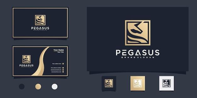 독특한 상자 선 모양, 자연, 공원, 말, 금 그라디언트, premium vecto가 있는 미니멀리스트 pegasus 로고 디자인