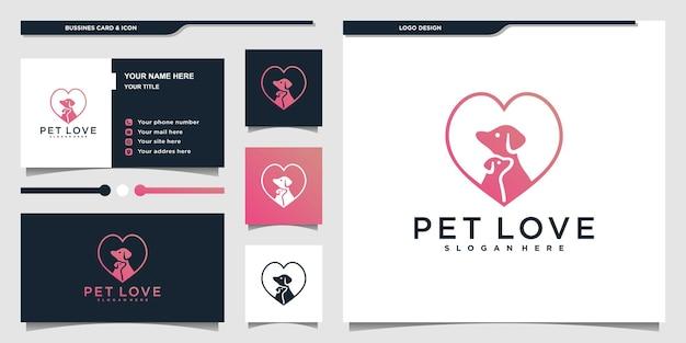 럭셔리 핑크 그라데이션 색상과 명함 프리미엄 벡터가 있는 미니멀리스트 애완 동물 사랑 로고 디자인