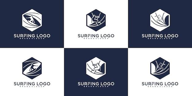 Минималистский шаблон дизайна логотипа серфинга в форме шестиугольника premium векторы