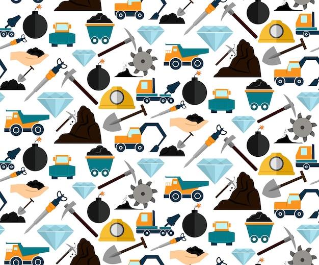 鉱業および鉱物掘削装置および機械のシームレスなパターンのベクトル図